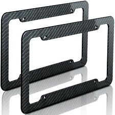 Plastic Carbon Fiber Style License Plate Frames For Front & Rear Bracket 2pc Set