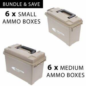 6 x Medium + Small Ammunition Case Weatherproof Ammo Boxes /Dry Boxes Desert Tan