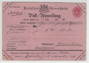 Braunschweig - Postanweisung A5 mit hs. Aufgabe 'v. Bodenburg' über 22 Thaler !!