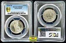 Silver 1944-B Switzerland 2 Francs PCGS MS65 Gem BU UNC Uncirculated Swiss Coin