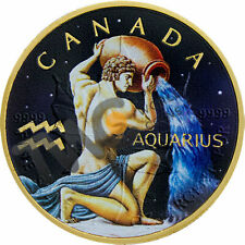 Maple Leaf Zodiac - Aquarius Silver Coin 5$ Canada 2018