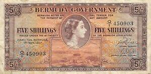 Bermuda   5/-   1.5.1957  P 18b  Series  Q/1  Circulated Banknote Me19