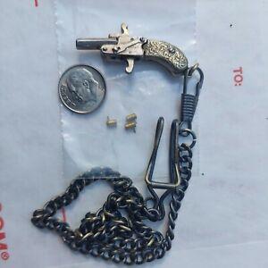 Rare ANTIQUE Vintage AUSTRIA Silver Grip Pistol Gun WATCH FOB