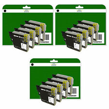 12 Black Ink Cartridges for Brother DCP-J125 J140W J315W J515W non-OEM LC985