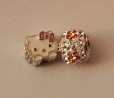 Hello Kitty Sterling Silver Cat Face Bead Charm & Crystal Bead Flowers NEW