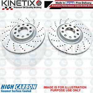 FOR PEUGEOT 308 1.6 GTi FRONT CROSS DRILLED PERFORMANCE BRAKE DISCS PAIR