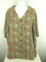 Maggie Barnes Short Sleeve Button Up Floral Top Womens 28W  ( 58in Bust )