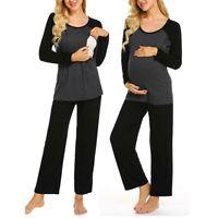 2PCS Women Pregnancy Nursing Splice Long Sleeve Tops Pants Sleepwear Pajama Set