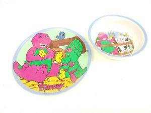 Vintage 1997 BARNEY PURPLE DINOSAUR & BABY BOP Plate Bowl Plastic Animals Farm