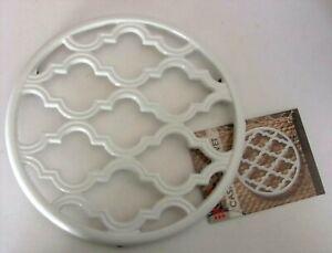 "Home Basics WHITE LATTICE Enamel Cast Iron Trivet w/8"" Diameter  NEW"