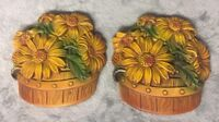 Lot Of 2 Vintage 1968 Miller Studio Chalkware Flower Baskets Plaques