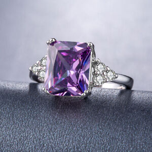 zd7 b915 Handmade 100% Natural  Amethyst 1.30ct Size US 7 14K White Gold ring