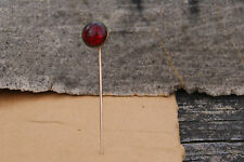 Antique Round Red Stone Gold Victorian Art Deco Hatpin Old Estate Find Hat Pin