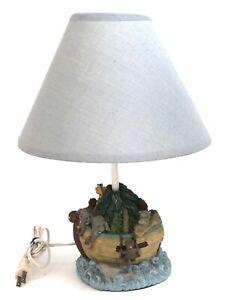 Nursery Lamp Noah's Ark Lamp Children's Nursery Blue Lamp Shade.  Working