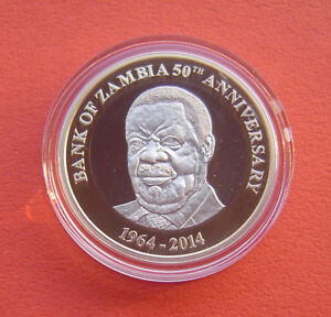 Zambia 2014 50th Annv. of the Central Bank 50 Kwachas Bi-metallic Proof Coin