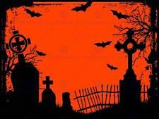 Ilustración De Pintura Halloween Cementerio cementerio silueta arte cartel MP3124B