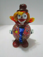 Murano Glass Clown Vintage Hollow Belly Figurine Multicolored