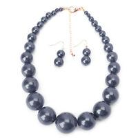 Choker Women Chunky Statement Pearl Bib Collar Necklace Earring Jewelry Set Gift