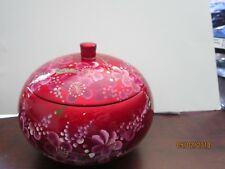 Hand Painted Flowers Urn Trinket Box Beautiful Asian Red Unique Vintage Antique