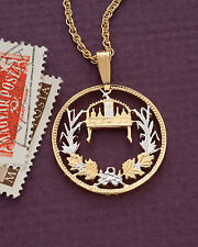 "Hungary Crown of St.Stephen One Krone Cut Coin Pendant Necklace 7/8"" ( # 157 )"
