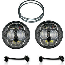 "5-3/4"" White LED Projector Light Bulb Headlights Black Crystal Clear Set H5006"