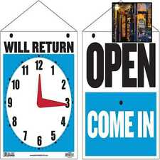 Bazic Open Sign 75x9 Clock Will Return Be Back Double Sides Plastic Vinyl Sig
