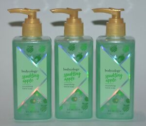 LOT OF 3 NEW BODYCOLOGY SPARKLING APPLE NOURISHING HAND SOAP WASH 8 OZ PUMP