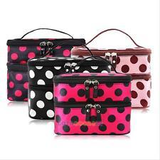 Travel Women Toiletry Cosmetic Bag Makeup Case Organizer Zip Polka Dot Handbag