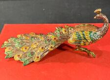 Ciel Collectible Peacock Trinket Jewlery Box Svarovski Crystal Tail