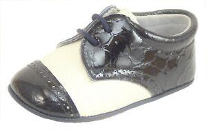 DE OSU - Baby Boys Ivory Navy Blue Croc Dress Crib Shoes - European - Size 0-2