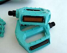 """9/16"""" Platform Alluminum Pedals Toe Clip/Strap Compatible Bianchi Green Set"""