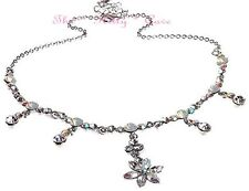 Deco Vintage Silver Opal Star Flowers Hollywood Necklace w/ Swarovski Crystals
