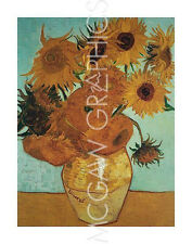 "VAN GOGH VINCENT - SUNFLOWERS ON BLUE, 1888 - ART PRINT POSTER 11"" X 14"""