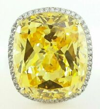 85 ct Yellow Cushion Cut CZ Cocktail Wedding Women Ring in 925 Sterling Silver