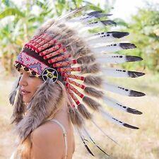 INDIAN HEADDRESS BLACK DOTTED Feathers Chief War bonnet Costume Native American