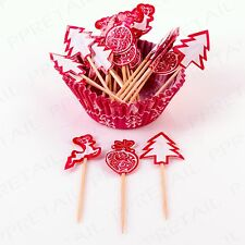 24 x Christmas Cupcake Cases & Matching Pick Sticks Muffin/Fairy Cake Decoration