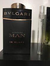 Bvlgari Man In Black Eau De Parfum Spray 10ml Decant Travel Mens Cologne for Men
