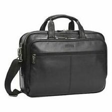 $260 Kenneth Cole Reaction Manhattan Leather Double Gusset Laptop Briefcase Bag