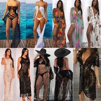 Women Summer Lace Sheer Swimwear Bikini CoverUp Bathing Beach Kaftan Long Dress