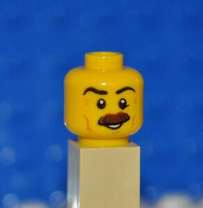 LEGO PARTS 1X MINIFIGURE HEAD/MALE/BUSHY MOUSTACHE/EYEBROW/CHEEK LINES/SMILE AN