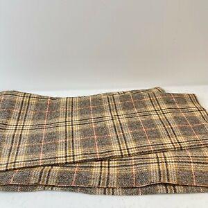 vtg brown gray plaid 30x56 1.5  yards crafts sewing