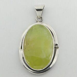 Oval Green OLIVINE (Egypt) ARTISAN Pendant - 925 STERLING SILVER #38e