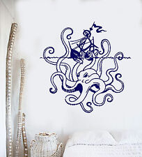 Vinyl Wall Decal Angry Octopus Ship Sea Monster Ocean Style Stickers (1362ig)