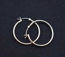 "Round Hoop Earrings Real 925 Sterling Silver 2mm X 30mm 1 1/4"" Plain Polished"