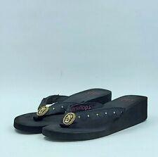 LuLu Switchflops Black Flip Flops Sandals Straps Medallian Accent Sz 11