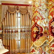 Chenille Embroidered Curtains 2 Panels Luxury Gold Living Room Bedroom High-end