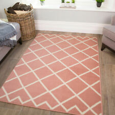 Pink Moroccan Rug | Cheap Living Room Rugs | Blush Scandi Mat For Bedroom NEW