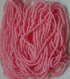 """Baby Pink Seed Beads Vintage WALCO Brand Color Lined 20"""" Hank Czech Glass 11/0"""