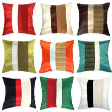 SILK DECORATIVE THROW PILLOW CASE CUSHION COVER FOR SOFA BED COUCH 16x16 STRIPES