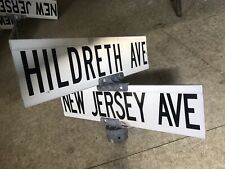 Hildreth Avenue and New Jersey Ave Wildwood NJ Authentic Vintage Street Sign